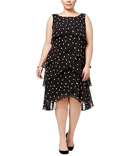 S.L. Fashions SL Fashions Women's Plus Size Tiered Polka-Dot Dress (16W, Black) (Dot Tiered Polka)