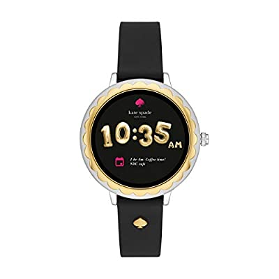 Kate Spade New York Scallop Touchscreen Smartwatch, Two-Tone Stainless Steel, Black Silicone Band, 42mm, KST2006 by kate spade new york Connected Watches Child Code