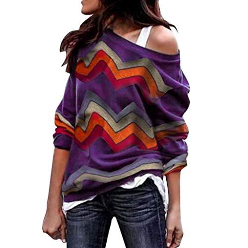 Sunhusing Ladies Colorful Geometric Wavy Stripe Print Long Sleeve Round Collar Off Shoulder T-Shirt Top ()