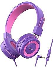 Hoofdtelefoon voor Kinderen, iClever Hoofdtelefoon voor Kinderen, Volume Limited, Stereo-Geluid, Opvouwbaar, Onverwarde Draden, 3,5 mm-Aansluiting voor School / Reizen