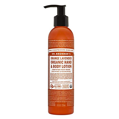 Dr. Bronner's & All-One Organic Lotion for Hands & Body, Orange Lavender, 8-Ounce Pump Bottle - Organics Hand Lotion Body