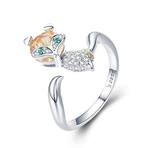 BAMOER 925 Sterling Silver Cute Crystal Fox Rings for Women Fashion Animal Open Rings Jewelry Gifts (Ring)