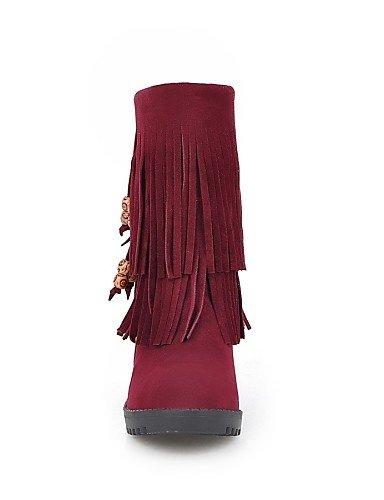 Bout Polaire Femme Mode Chaussures Chaussons compensé Rond décontracté Bottes Chaussons à Femme pour gris pour Bottes Citior Talon en Z5qP88