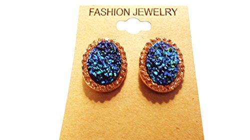 Blue Crystal Earrings Encrusted Crystal Earrings 1 Inch Oval Earrings