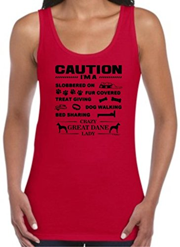 ThisWear I'm a Crazy Great Dane Lady, Dog Lover's Juniors Tank Top X-Large Cherry - Tank Cherry Dog