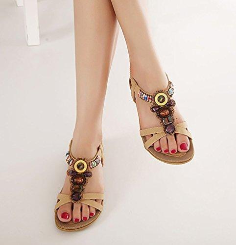 Stile Sandali 42 Punta Aperta Piatte Eleganti Con Albicocca 35 Boemia A Youjia pxH7q1Tww
