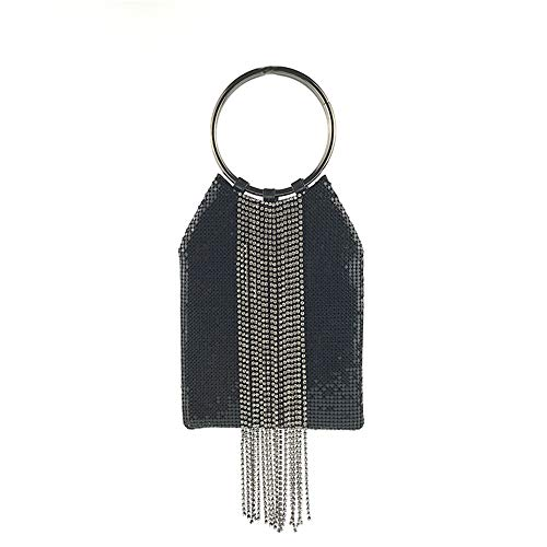 Bracelet Ring Handle Cocktail Party Wedding Clutch Crystal Rhinestone Tassels Tote Handbag Metal Mesh Evening Bag