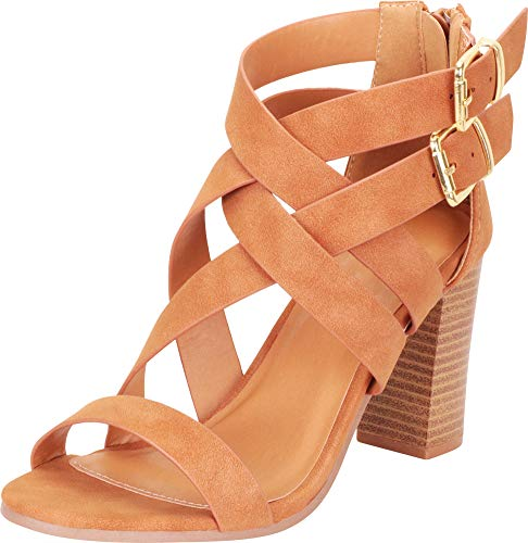 (Cambridge Select Women's Open Toe Crisscross Lattice Chunky Stacked Block Heel Sandal,7 B(M) US,Camel NBPU )