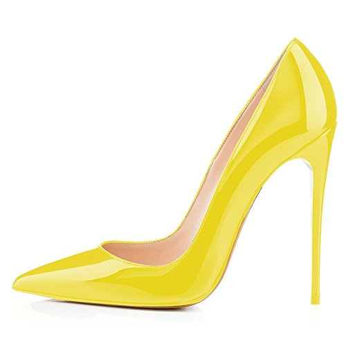 Women's Heel High Pumps Evening Yellow Heels Basic Shoes On Pointed Party Plus Stiletto High Kmeioo Toe Slip Size xEYSqSwvd