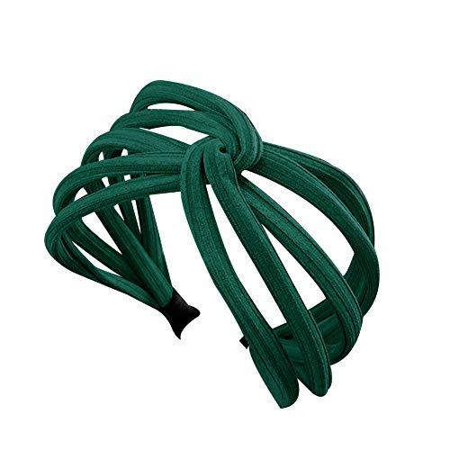 Sweet Women Twist Hair Hoop Band Solid Color Wide Headwrap Headband Accessory - Blackish Green -