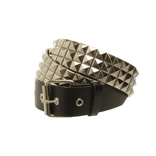 Accessoryo Men's Pyramid Studded Belt 115cm - Pyramid Row 3 Studded Belt