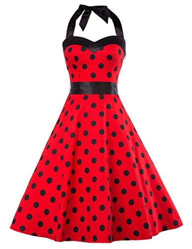 50s Halter Dress (Women's Halter Polka Dots 1950s Vintage Swing Tea Dress XL Red CL10496-4)