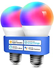 Homekit Light Bulb Meross Smart WiFi LED Bulb Dimmable Multicolor RGBWW, Remote Control, Equivalent 60W E27 2700K-6500K 810 Lumens Compatible with Siri, Alexa, SmartThings and Google Home, 2 Pack