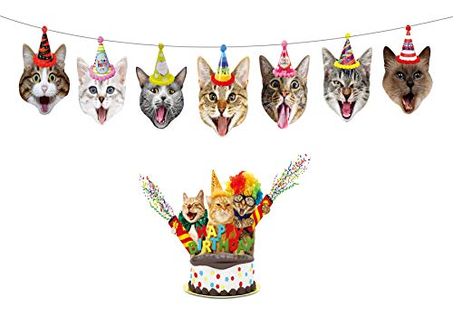 Birthday Cat Garland by Gyzone, Funny Photographic Cat Faces Birthday Banner, Kitties Bday Party Bunting Decoration]()