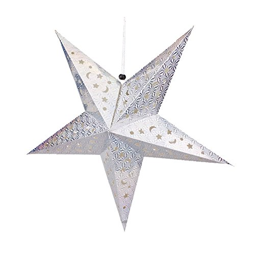 Hanging Outdoor Estrella (Topbeu 3D Hollow Star Pentagram Paper Lantern Lampshade Ceiling Hanging Decorations for Christmas Birthday Party (Large: 23.6 inch, Silver))