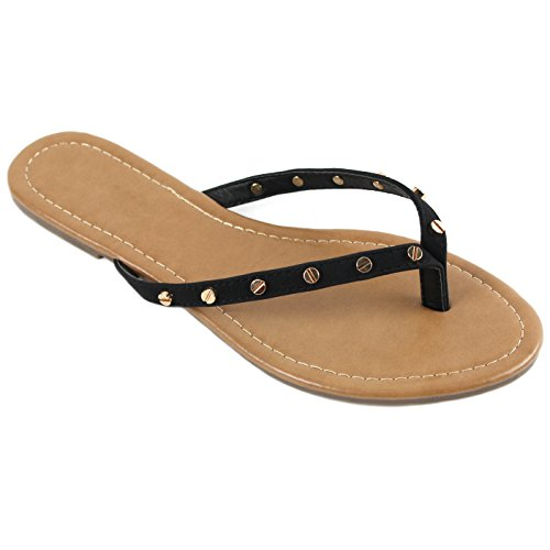 - New Womens Summer Cute Gold Plated Stud Thong Sandal Slipper Flip Flops (9, Black)