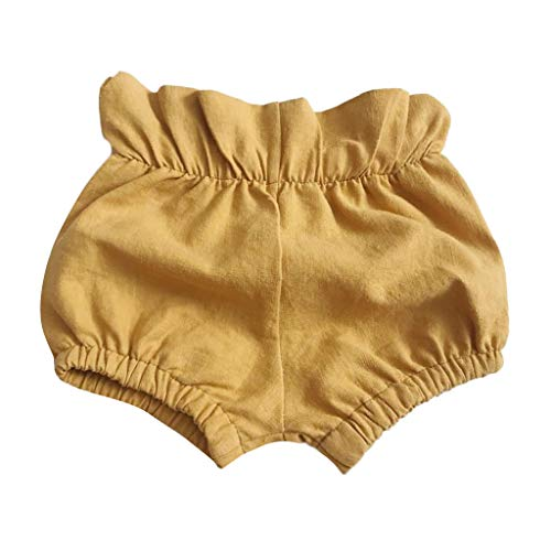 Baby Kids Shorts for Girls Boys Cute Cotton Solid Ruched PP Briefs Bloomer Trousers (Yellow, Recommeded:18-24 Months)