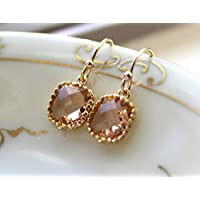 Gold Dainty Champagne Blush Earrings - Pink Peach Jewelry - Wedding Jewelry - Champagne Bridal Jewelry