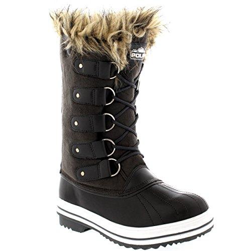 Polar Gris Zapato Botas Piel De Mujer Suede Cordones Lluvia Caucho Manguito Invierno r7wr4nq6v