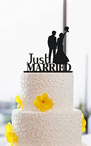 Amazon Com Just Married Bride And Groom Silhouette Funny Wedding