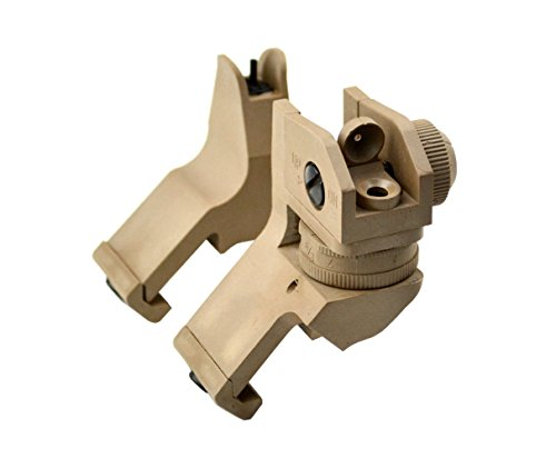 Sniper Grunt Front and Rear Combo Offset Polymer Sight; 45 Degree Canted, Long-Barrel Backup Iron Sights of High Grade Polymer in Tan, with Easy Install Picatinny Rail Mount
