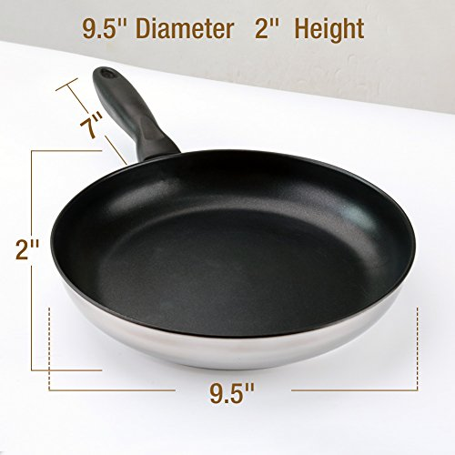 "HOMI CHEF Mirror Polished 9.5"" NICKEL FREE Stainless Steel Non Stick Frying Pans (PFOA FREE Nonstick Coating) - PFOA FREE Nonstick Pan - Teflon Pan Kitchen Skillet - Stainless Steel Nonstick Cookware"