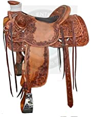 """ME Enterprises Wade Tree A Fork Premium Western Leather Roping Ranch Work Horse Saddle Size 14"""" to18 Inch Seat"""
