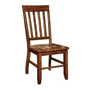 Furniture of America Castile Transitional Dining Chair, Dark Oak, Set of 2