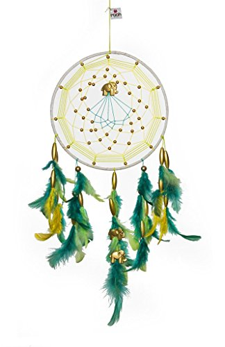 Rooh Dream Catcher ~ Green and Yellow with gold elephant ~ handmade hangings for home Decor, Wall hangings, garden, car, outdoor, bedroom,