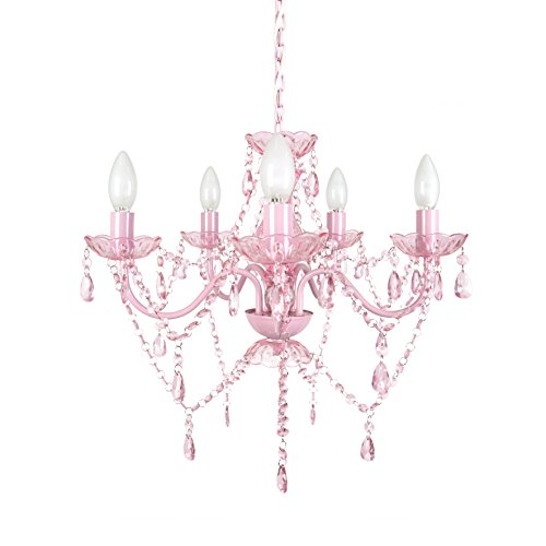 Pink Dangle Shade - Tadpoles 5 Bulb Chandelier - Pink Sapphire