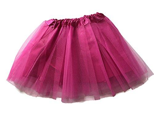 [Rush Dance Girls' Classic Ballerina 3 Layers Tulle Tutu Skirt with Satin Lining (Kids (3-8 Years Old), Hot Pink)] (2017 Dance Costumes)
