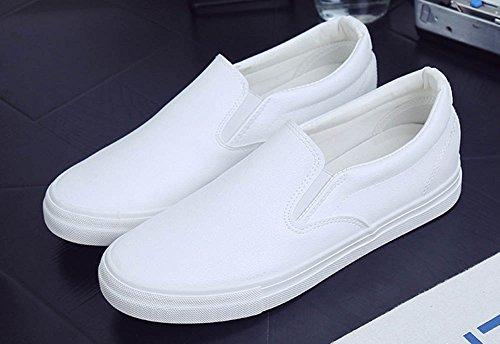 Aisun Mens Décontracté Bout Rond Bas Tops Slip Sur Espadrilles Plates-formes Mocassins Skateboard Chaussures Blanc