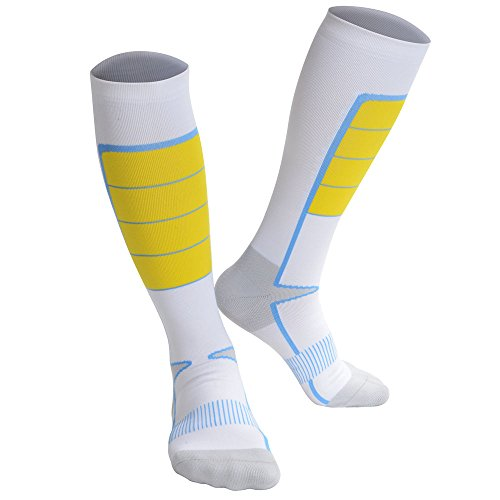 Soccer Socks with Compression Design, Mid-Calf, High Elasticity and Durability, Holding the Shinguard Tightly, 1 Pair (White, M: US - Portugal Hot Gold