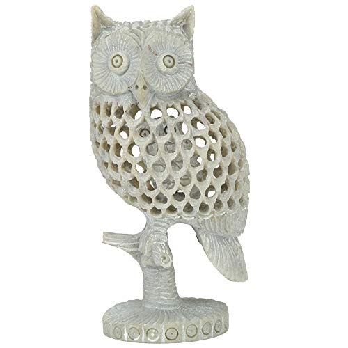 CARRY ME Owl Soapstone Statue Decor Crafted Owl Figurines for Home Decor Accents, Living Room Bedroom Office Decoration, Buhos Bookself TV Stand Decor - Animal Sculptures Collection BFF for Owls Lover