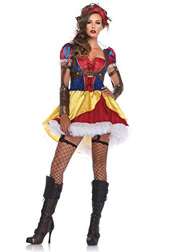 Leg Avenue Women's 3 Piece Rebel Snow White Costume, Multi, Small