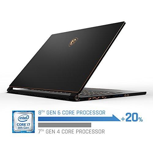 MSI GS65 Stealth15.6 144Hz 7ms Ultra Thin 4.9mm Bezel Gaming Laptop, GTX 1070 8G, i7-8750H (6 Cores) 16GB DDR4, 256GB SSD, RGB KB VR Ready,Metal Chassis, Black w/ Gold Diamond Cut, Win 10 Home 64bit