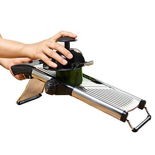 Mandoline Slicer by Simplify Fresh - Premium Stainless Steel Metal, Adjustable Vegetable Cutter Blade, Cut-Resistant Gloves - Safe Handheld Chopper Makes Easy Thin or Thick Veggies & Julienne