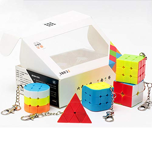 Ocamo 2x2x2 3x3x3 Magic Ball Cylinder Keychain 6PCS/Set Mini Magic Cube Gift Pack