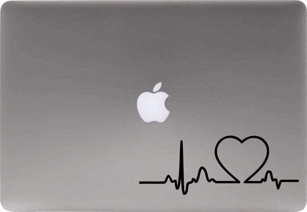 Heartbeat Heart Version 2 Vinyl Decal Sticker for Computer MacBook Laptop Ipad Electronics Home Window Custom Walls Cars Trucks Motorcycle Automobile and More (Black)