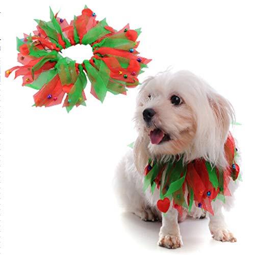 Dora Bridal Christmas Smoocher Dog Kissable Bells Charming Party Collar Pet Party Collar - Christmas Fuzzy Pom Poms Halloween Decorative Dog Collars Bells Green Red L