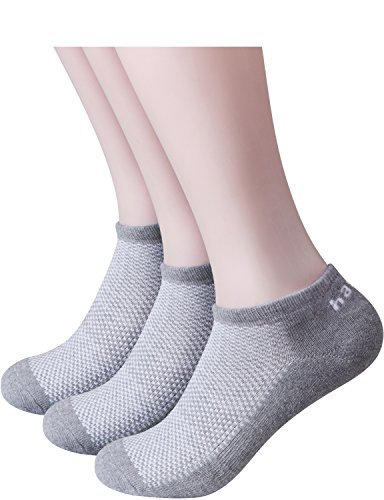 HASLRA Full Light Cushion Mesh Top Low Cut Socks 3 Pairs (GRAY) M (Shoe Size 8 - 10.5)
