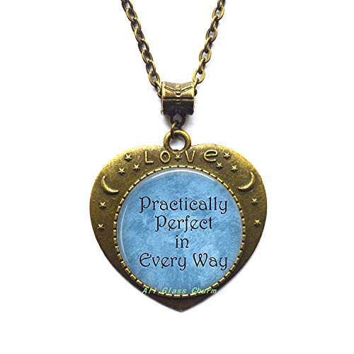 (AllGlassCharm Practically Perfect in Every Way Pendant Necklace-Literature Quote Jewelry-Literary Necklace-Perfection-Perfectionism,AS0199)
