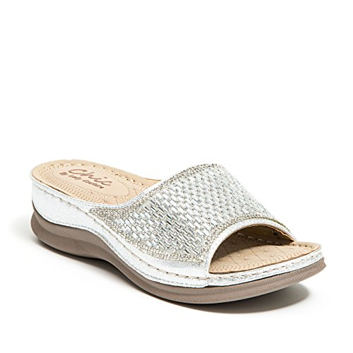 Lady Couture Glitz Slide with a Padded Foot Bed Women's Shoes Chic FINE Silver 37