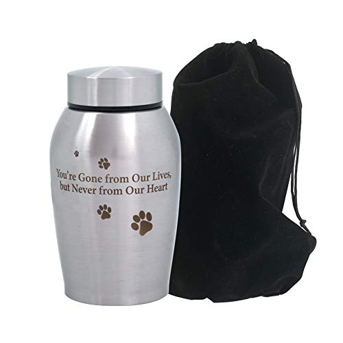ENBOVE Funeral Cremation Urns, Ash Urns for Dogs, Cats and Other Pets, in Loving Memory Gone but Not Forgotten You Left Paw Prints on My Heart