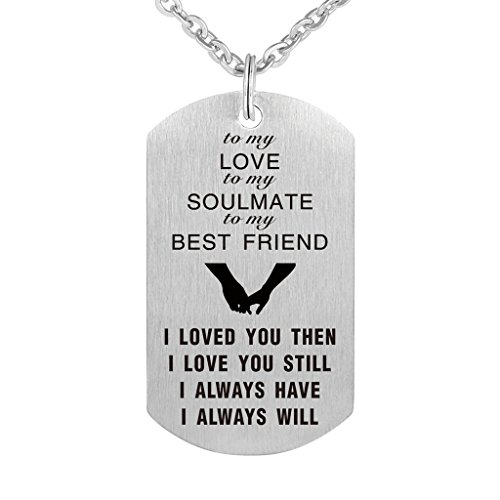 (To My Love Wife Husband Soulmate BestFriend Dog Tag Necklace Stainless Steel Military Dogtags Necklaces (to my Bestfriend))