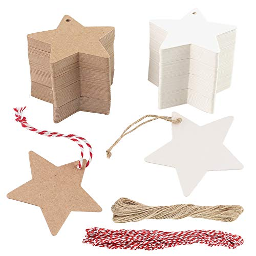 HAKACC Star Gift Tags, 200 PCS Kraft Paper Tags Card Gift Tags with 20 M Natural Jute Twine