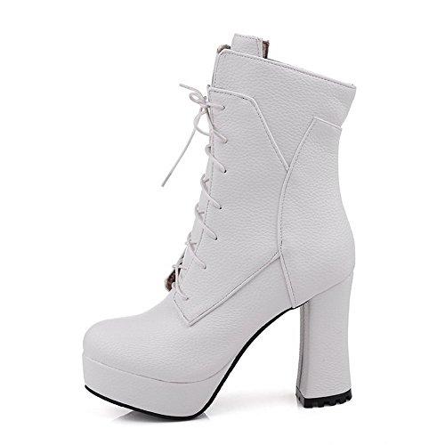 Amoonyfashion Femmes Hauts Talons Fermés Bout Rond Matériaux Mélangés Low Top Boots Blanc