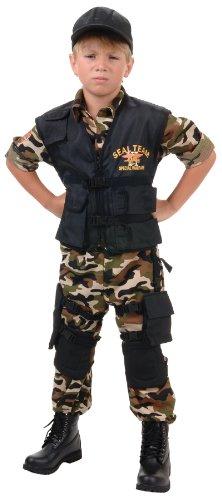 Black Team 6 Kids Costumes (Deluxe SEAL Team VI Child Costume - X-Large)