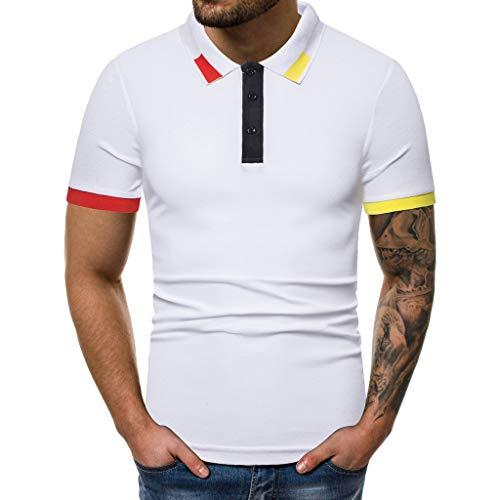 Rakkiss_Men T-Shirt Solid Splicing Slim Blouse Zipper Pattern Lapel Tops Button Short Sleeve Summer Clothes