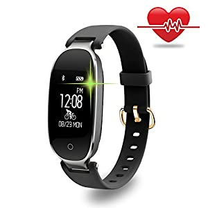 Fitness Tracker, WOWGO Women Sport Tracker Smart Watch Band Bracelet, Heart Rate Monitor Smart Bracelet,Wristband Watch with Health Sleep Activity Tracker Pedometer for Smart Phone (Black and Silver)
